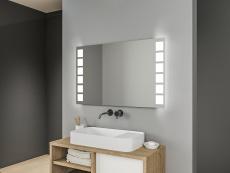badspiegel led quadratische gro e leuchtstreifen rechts und link. Black Bedroom Furniture Sets. Home Design Ideas