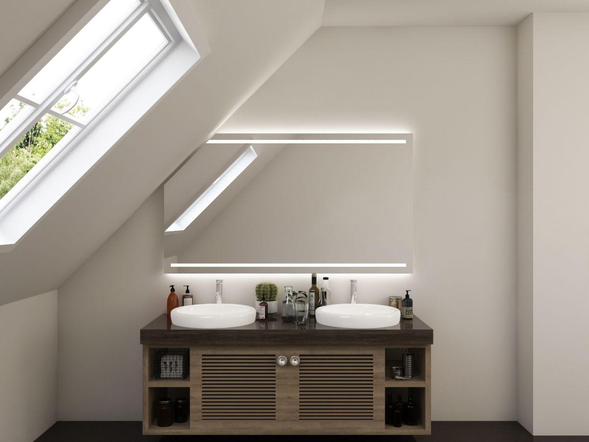 LED Badspiegel mit Dachschräge - Milaja