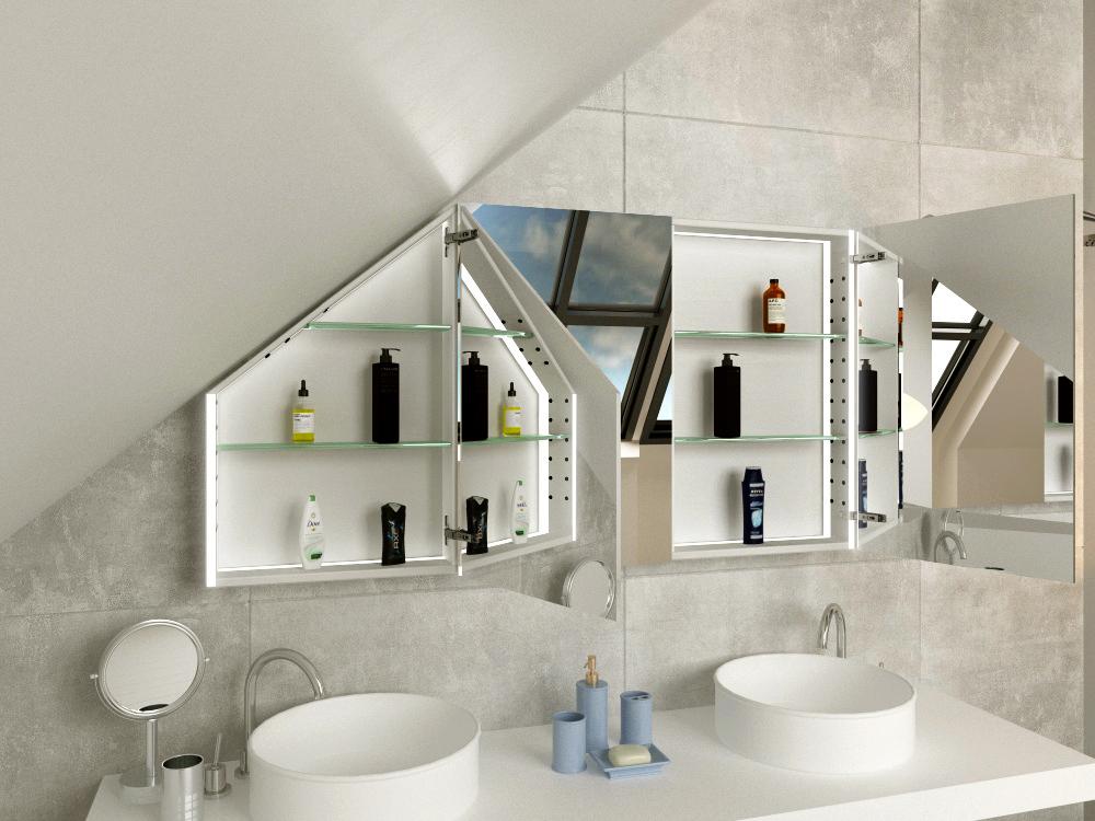 Spiegelschrank für Badschräge Viborg