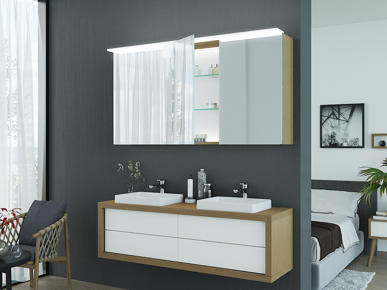 Spiegelschrank Joost mit Leuchtelement aus Glas oben