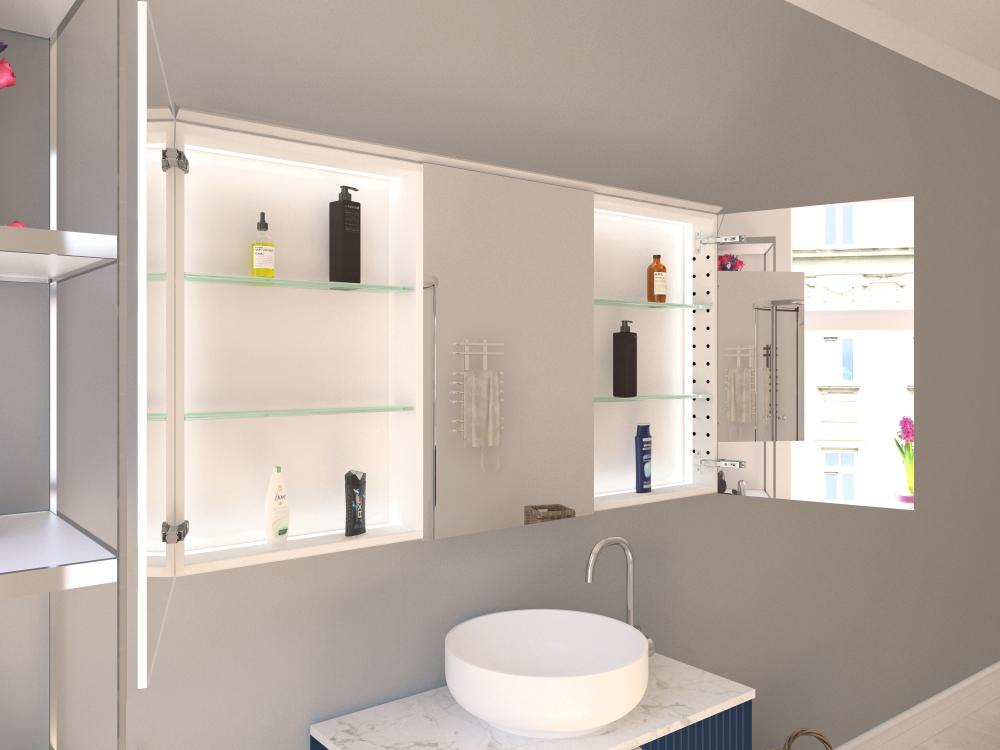 Spiegelschrank Lijan mit Lichtprofil oben