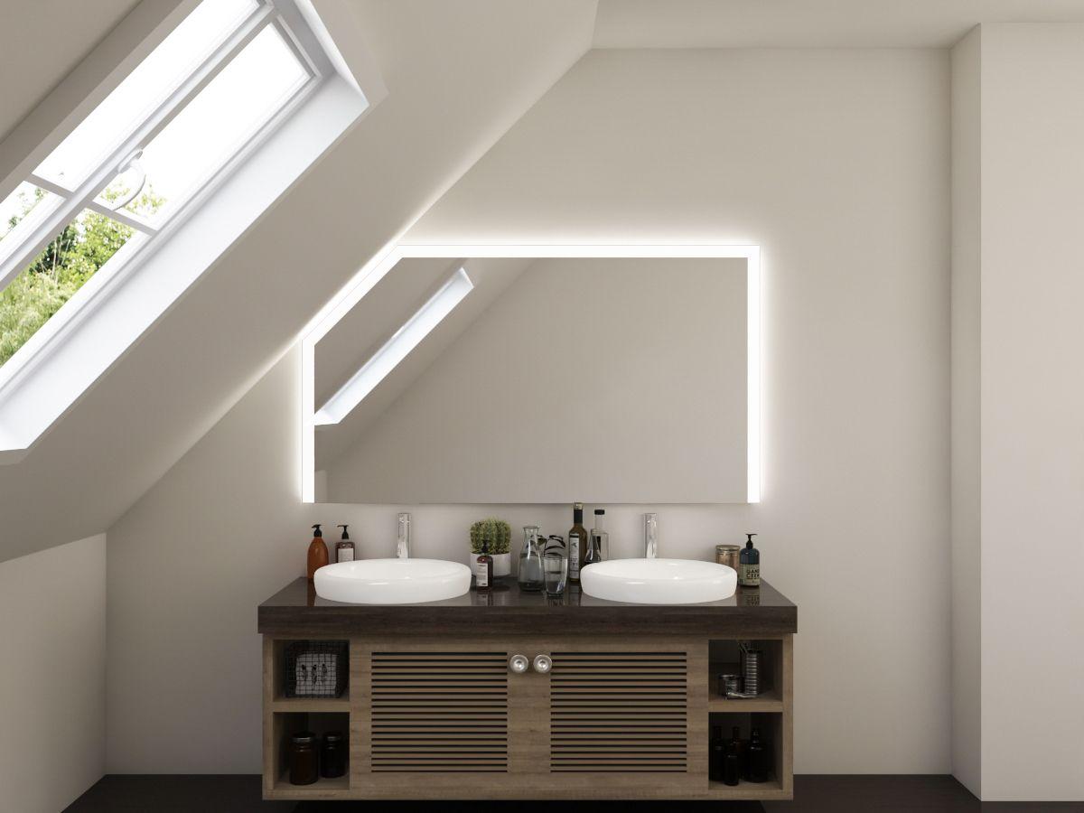 LED Badspiegel mit Dachschräge - Tora