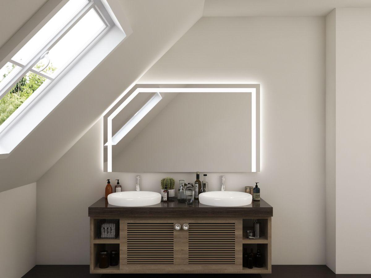 LED Badspiegel mit Dachschräge - Bjarte