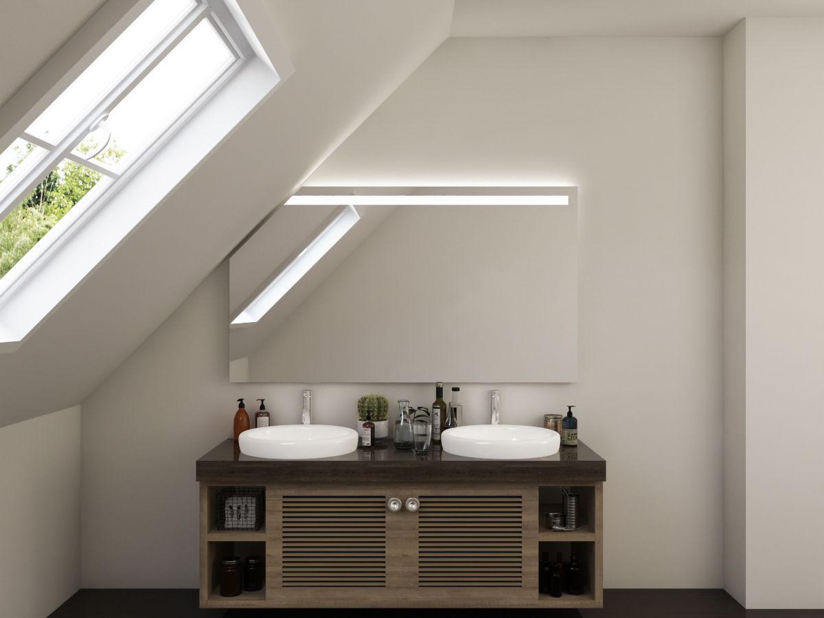 LED Badspiegel mit Dachschräge - Bjelle
