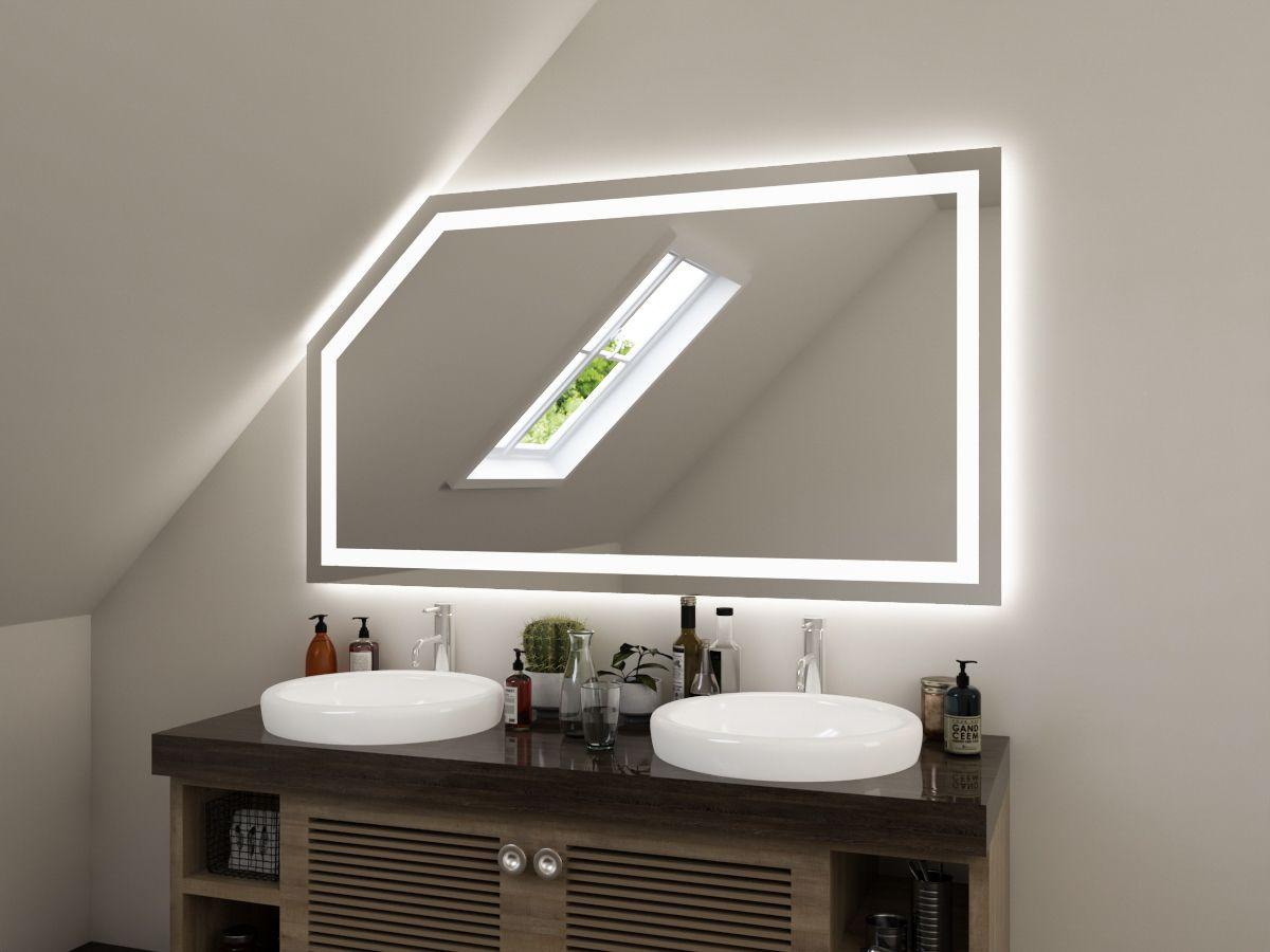 LED Badspiegel mit Dachschräge - Owe