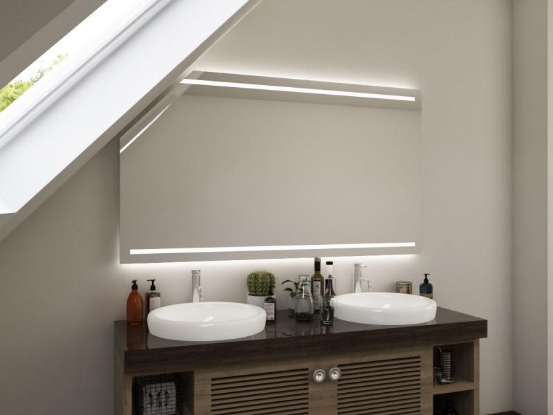 Spiegel Bad mit LED Beleuchtung und Dachschräge Milaja