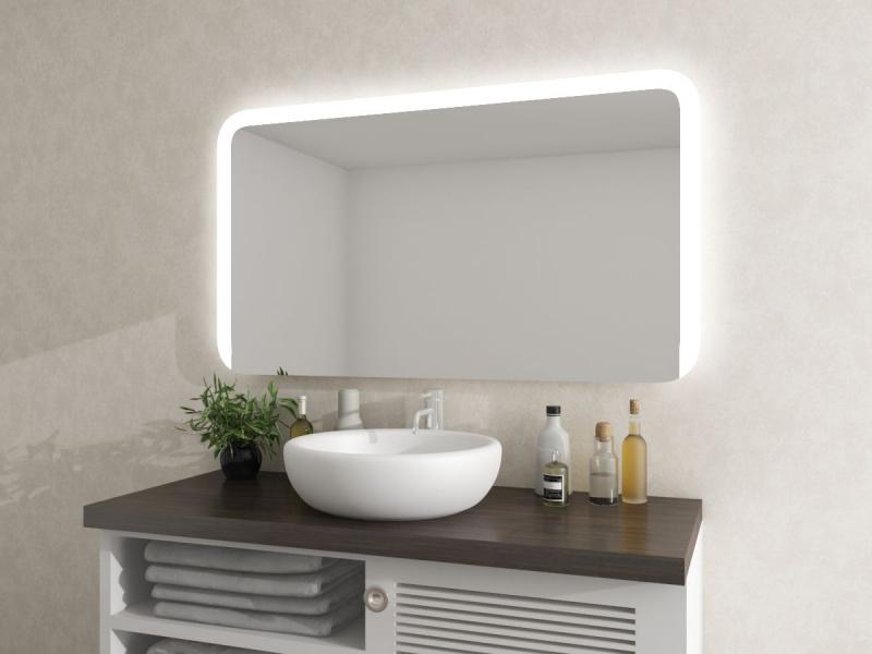 Badezimmerspiegel LED mit runden Ecken Nighils