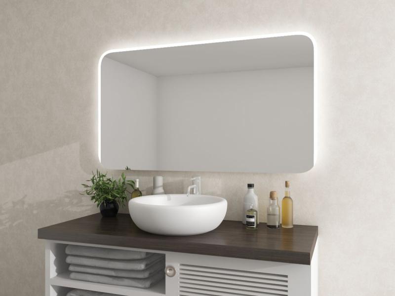 Spiegel mit Beleuchtung und runden Ecken Palmina