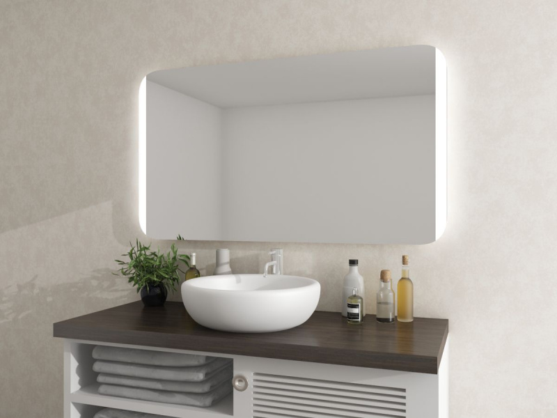 LED Spiegel mit runden Ecken Rodma