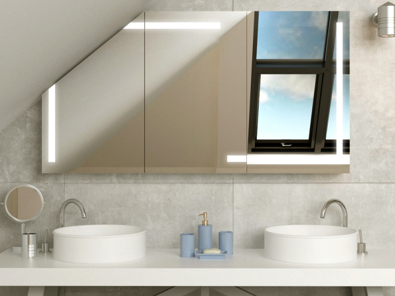 Bild LED Spiegeschrank für Dachschräge Herleva