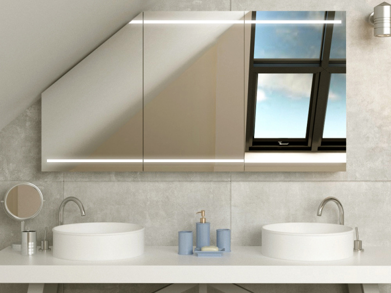 Bild LED Spiegelschrank nach Maß für Dachschräge Larvik