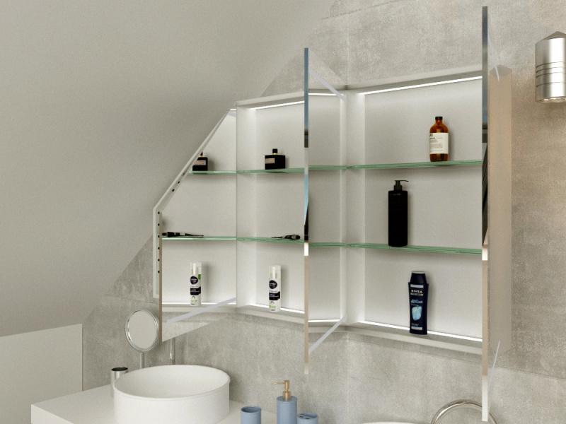 Badschrank LED nach maß für Dachschräge Larvik