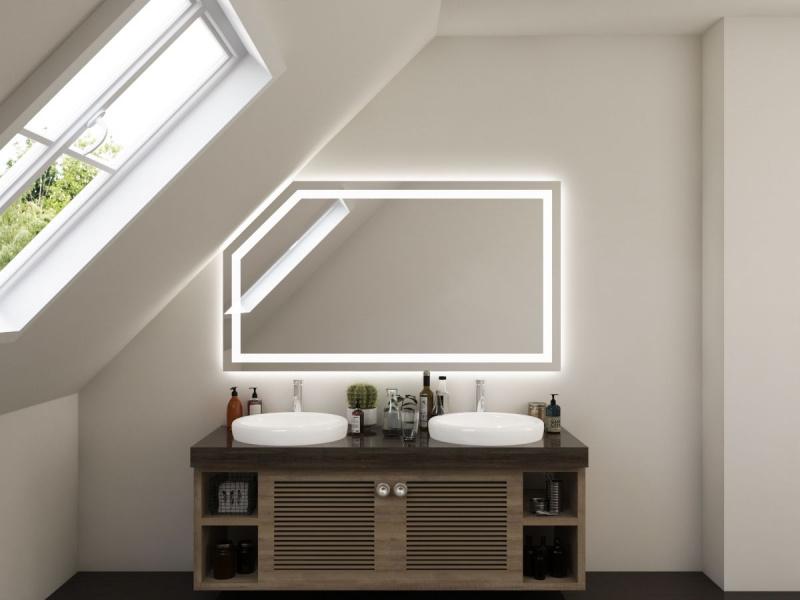LED Spiegel nach Maß mit Dachschräge Owe